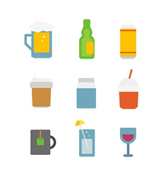 Different drinks icons set isolated on white vector