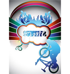 Abstract summer composition with bmx biker vector