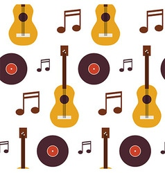 Flat seamless background pattern music vinyl disc vector