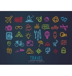 Travel flat neon icons vector