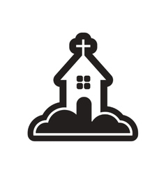 Flat icon in black and white church vector