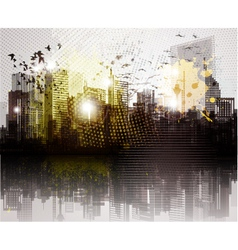 grunge city panorama vector image
