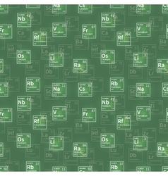 Many chemical elements white icons on green vector