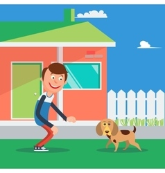 Happy boy playing with dog kid and puppy vector