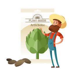 Artichoke seed pack vector