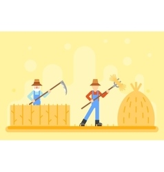 Autumn hay peasant harvestman harvest icon village vector