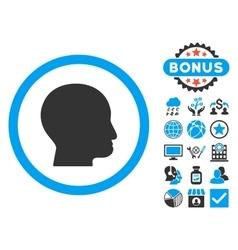 Bald Head Flat Icon with Bonus vector image vector image