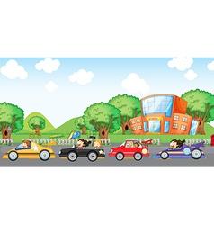 Children car racing vector image