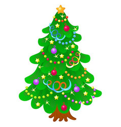 Christmas tree with bright toys in white backgroun vector
