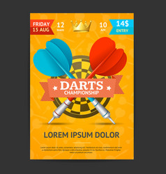 Darts tournament poster card template vector