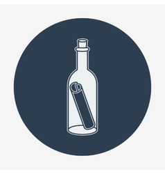 Flat style icon with sea or bottle mail vector