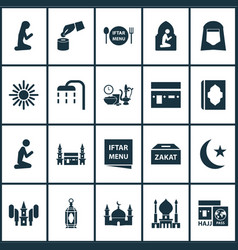 Holiday icons set includes icons such as iftar vector