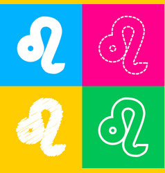 Leo sign four styles of icon on four vector