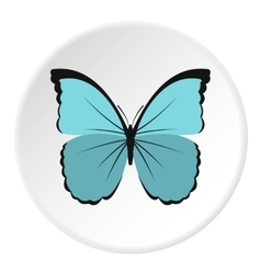 Light blue butterfly icon flat style vector image