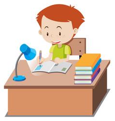 little boy doing homework on table vector image