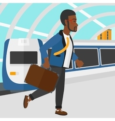 Man going out of train vector image