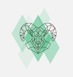 mountain sheep head geometric lines silhouette vector image