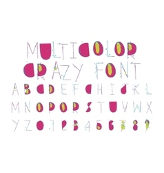 Multicolor crazy thin font with grunge pieces vector image