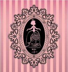 Princess in lace oval frame vector image