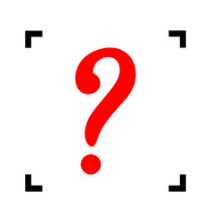 Question mark sign red icon inside black vector