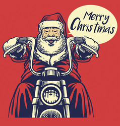 santa claus ride a motorcycle vector image