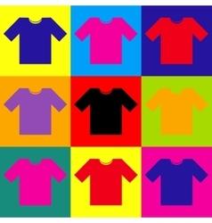 T-shirt sign pop-art style icons set vector