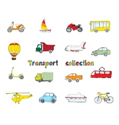 Transport doodle set colored vector image
