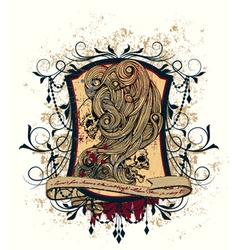 Vintage emblem with skulls vector