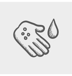 Wash the wound with watre sketch icon vector