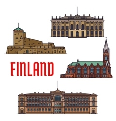 Historic buildings and architecture of finland vector