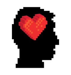 Pixel head and heart vector image