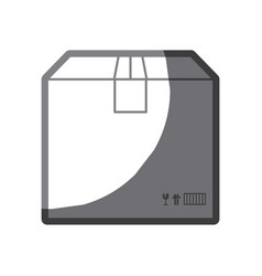 grayscale silhouette of box of cardboard sealed vector image