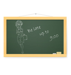 Blackboard with running business woman on white vector