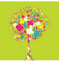 Tree symbol from colorful flowers vector
