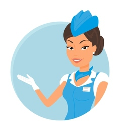 Female stewardess wearing blue suit round icon vector