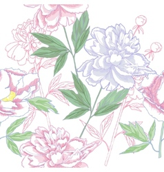 Seamless pattern with peonies and leaves vector