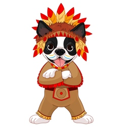 Native american boston terrier vector