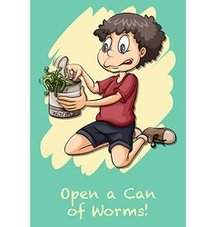 Idiom open can of worms vector