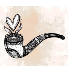 Tobacco pipe with a shaped smoke vector