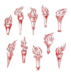Handheld and wall red flaming torches sketch icons vector image
