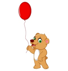 Cute bear cartoon holding a red balloon vector