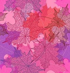 Seamless pattern of autumn maple leaves vector