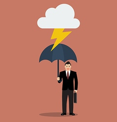 Businessman with umbrella protect from thunder vector