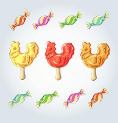Candy set caramel on stick lollipops cock vector