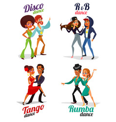 Cartoon of a couples dancing tango rumba vector