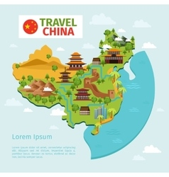 China travel map with traditional chinese vector