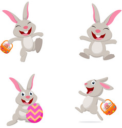 Cute rabbit with easter egg vector