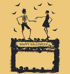 Dancing skeleton on yellow background vector