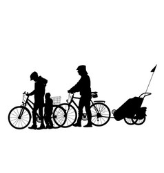 Family cycling with children detailed silhouette vector