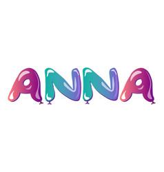 Female name anna text balloons vector